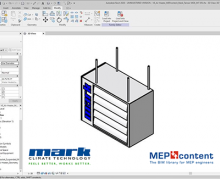 Screenshot of a BIM model of a Tanner MDE electric air heater in Revit