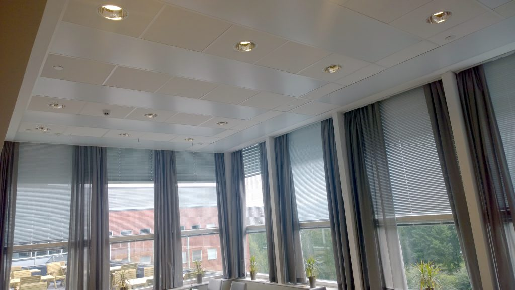 Installed Mark Ceilfit radiant panels in a grid type ceiling.